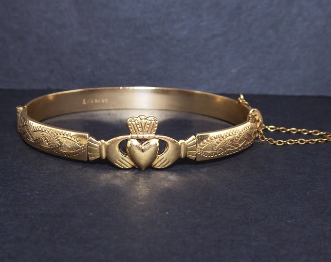 Gold Filled Claddagh Bracelet, Victorian, Art Nouveau, Hands Heart Crown Signed 1/13 12ct B/C Rare Irish Design Hinged Bangle Cuff