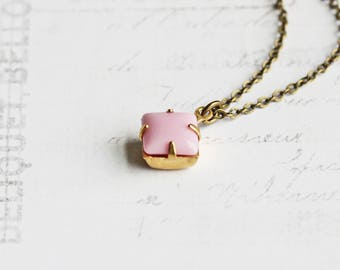 Small Pale Pastel Pink Rhinestone Pendant Necklace on Antiqued Brass Chain