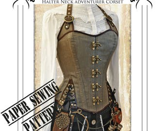 Corset Pattern, Steampunk, Pirate, Picture Tutorial, Halter neck style adventurer corset full size Paper Sewing Pattern - size Large