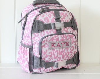 Small Size Pottery Barn Backpack With Monogram -- Pink/Gray Cheetah