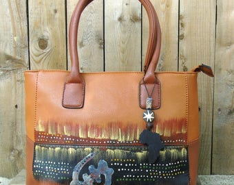 Hand Painted Tribal Immunity Brown Gye Nyame Two-Tone Tote Handbag