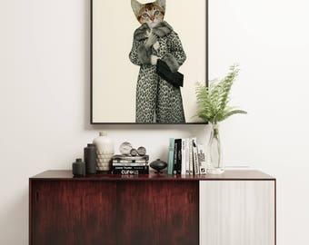 Cat Print, Kitten Wall Art, Anthropomorphism - Kitten Dressed as Cat