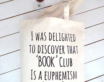 Book Club Wine Club | Book Club Gifts | Book Bag | Book Lover Gifts |  Book Gift | Gifts For Readers | Books and Wine