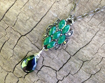 Emerald, Marqusite, Spinel Briolette, Oxidized Sterling Silver Chain Necklace
