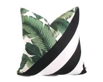 Pillow Cover Swaying Palms Bahama Black & White Stripes Indoor Outdoor
