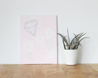 """pink wall art acrylic painting, """"jewels"""" - are you my bestie, flat 6x8 canvas, gift for friend, best friends, portrait, home art, decor"""