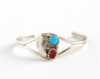 Sale - Vintage Children's Sterling Silver Turquoise & Coral Cuff Bracelet - Retro 1960s Red , Blue Gem Southwestern Leaf Tribal Tiny Jewelry
