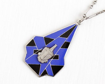 Sale - Vintage Sterling Silver Blue Black Enamel Alpha Tau Omega Pendant Necklace - Art Deco 1920s ATO Virginia Fraternity Fraternal Jewelry