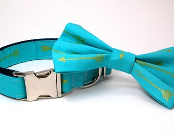 Handmade Dog Collar and Bow Tie Set - Arrows Abound in Teal - Custom Made Arrow Dog Collar with matching bowtie