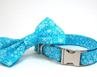 Handmade Dog Collar and Bow Tie Set - Turquoise Snowflakes - Custom Made Snowflake Dog Collar with matching bowtie in Teal