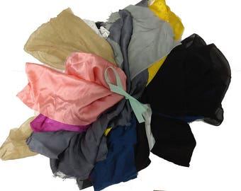 La Lilouche Luxe Bag of fabric Scraps, Silk satin, silk chiffon, lace