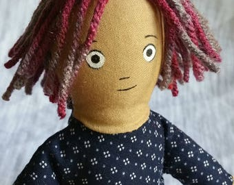 Small Soft Doll with Yarn Hair (navy top)