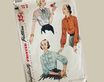 Simplicity Blouse Pattern, size 14, Bust 32
