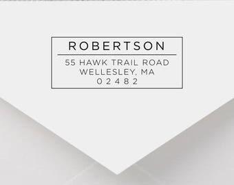 Personalized Return Address Stamp - Modern Address Stamp, Self-Inking Return Address Stamp, Wood Address Stamp, Custom Stamp Style No. 5