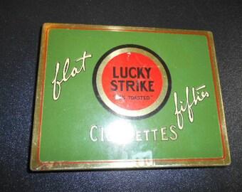 Antique Nostalgic Lucky Strike Cigarettes Hinged Tin by Nanas Vintage Shop on Etsy