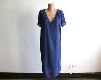 Blue Cotton Crochet Mexican Dress L