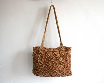 Brown Shoulder Sisal Bag