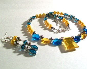 Turquoise Blue & Yellow Gold Celestial Faceted Crystal Necklace Set, Delicate Crystal Necklace, 2 Piece Set, Statement Necklace