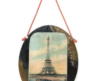Eiffel Tower Paris Glass Wall Hanging French Antique Postcard Wall Hanging