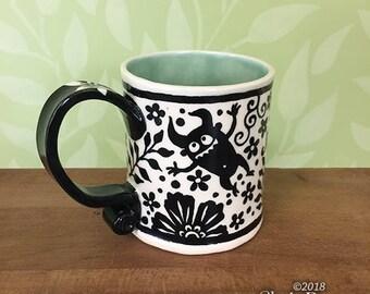 Monsters in the Garden Mug - porcelain ceramic handmade coffee cup