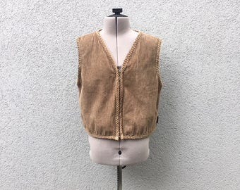 Vintage 90s Olive Green Corduroy Vest, 90s Women's Clothing, 90s Grunge, 90s Tops, 90s Fall Fashion, Size M