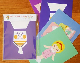 Pack of 4 90's Toy Inspired Postcard Set