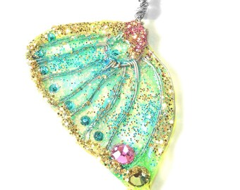 Necklace wing of magical butterfly golden blue, with crystal rhinestones, multicolor