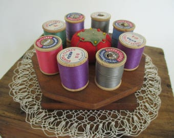 Vintage Wooden Spool Thread Holder - 8 Spools - Small Tomato Pin Cushion - Sewing, Quilting - Studio Decor