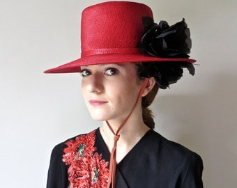 Vintage Red Flamenco Style Straw Hat with Black Silk Roses/Red Spanish Style Straw Hat/1940's Red Brimmed Hat