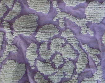"Lilac and White Floral Pattern Vintage Chenille Bedspread Piece 15"" X44"" X0945"