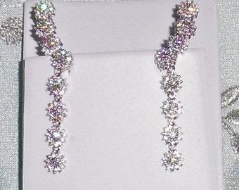 35 TCW AAAA White CZ Diamond Flower design stones, 14kt white gold, silver Pierced Earrings
