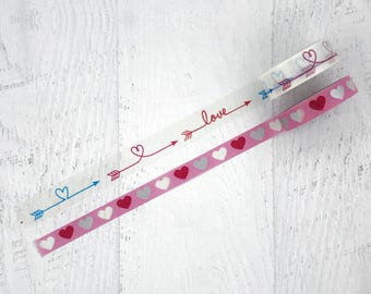 Love heart washi duo #2 - Valentine's Day wedding happy masking tape planner scrapbook journal craft swap mail stationery - Lillibon
