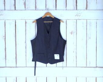 Vintage grey/black pin striped wool vest/Oscar De La Renta pinstripe formal mens vest/43R/W37