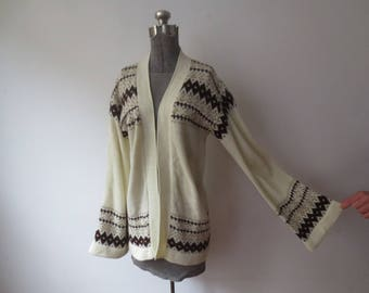 Vintage '70s Venture Wide Bell Sleeve Fair Isle Knit Wrap Cardigan Sweater, Large / XL