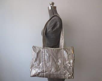 Vintage '70s Henri Bendel Oversized Iconic Brown & White Striped, Vinyl Covered, Zippered Tote Bag, 16 x 12 x 5.5
