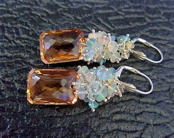 15% Off Morganite Quartz with Ethiopian Opal, Aquamarine, Morganite on Sterling Silver Earrings Gift for Her