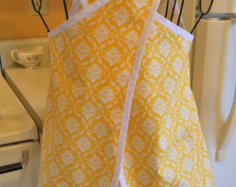 Girl's Crossover No Tie Apron in Yellow Brocade and Polka Dots
