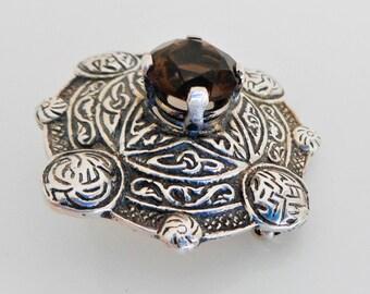 Scottish Silver & Cairngorm Agate Celtic Shield Brooch.  Sterling Silver Topaz / Smoky Quartz Tartan Sash Pin By Ward Bros Edinburgh 1959.