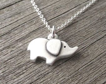 Tiny Elephant Necklace, Good Luck Elephant, Fine Silver, Sterling Silver Chain, Ready To Ship