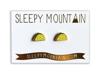 Taco Earrings - 22k Gold Plated Tacos - Studs