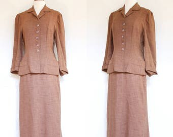 vintage 1940s brown linen blend suit   40s Nan Buntley lightweight jacket and skirt set   S - M