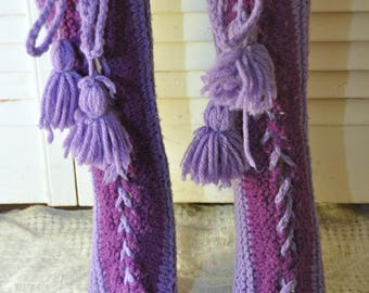 Vintage Crochet Booties Leg Warmers House Shoes or Slippers Two Tone Purple Lace up Pom-pom tassel Handmade 70s Womens Teens one size