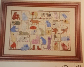 Country Cats Counted Cross-stitch pattern Leaflet Vintage 1983 by Burdett Publications