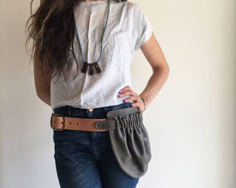 Leather Hip Pouch- Grey Hip Bag- Leather Hip Pocket Belt- Grey belt bag- grey utility belt- leather utility belt bag