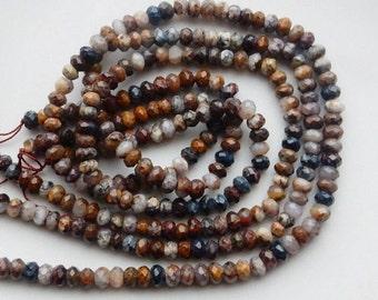 6x4mm Pietersite quartz faceted rondelle beads (15.5 inches)