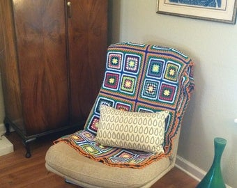 Granny square afghan, throw blanket, soft and vibrant from the 70s