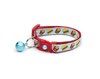 Cheeseburger Cat Collar - Burgers and Fries on Blue - Small Cat / Kitten Size or Large Size