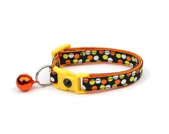 Halloween Cat Collar - Candy Corn Polka Dots - Kitten or Large Size