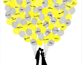 Wedding Guest Book, Personalized Guest Book with Balloons, Wedding Guestbook Bride and Groom Silhouettes 100 Guests - DIGITAL PRINTABLE JPEG