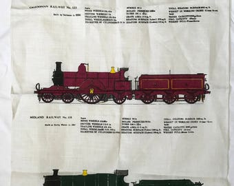 """Vintage """"Trains"""" by Ulster Tea Towel // Irish Linen Made in Ireland // A Hugh Evelyn Design // Caledonian Midland and Great Western Railways"""